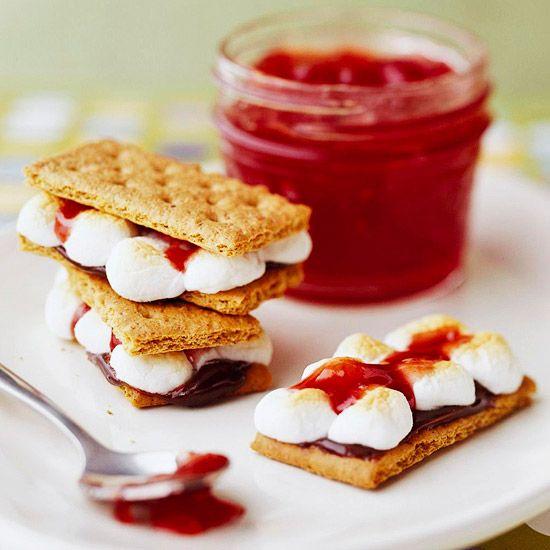 Strawberry jam on s'mores...yum yum