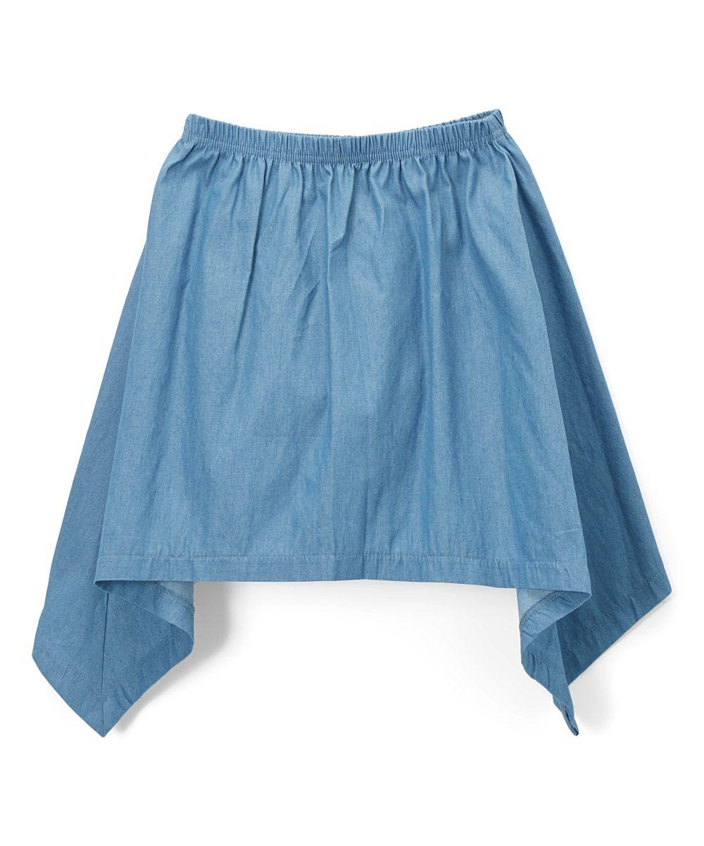 Blue Sidetail Denim Skirt - Girls