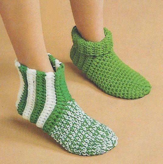 Vtg Crochet Slipper Pattern All Family Sizes Slp5 Crochet Slipper