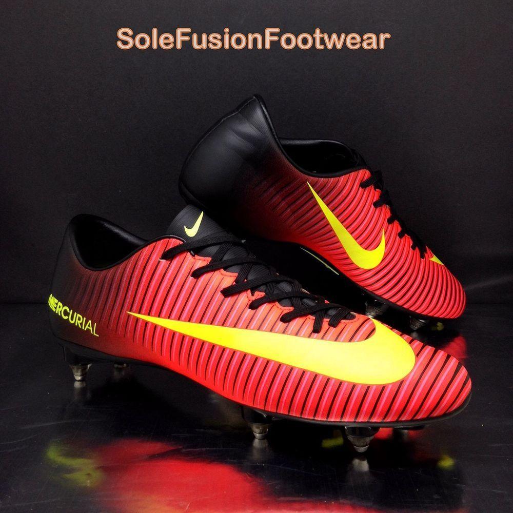 Nike Mens Mercurial Victory VI Football Boots Red/Black size 8 SG Cleats EU  42.5