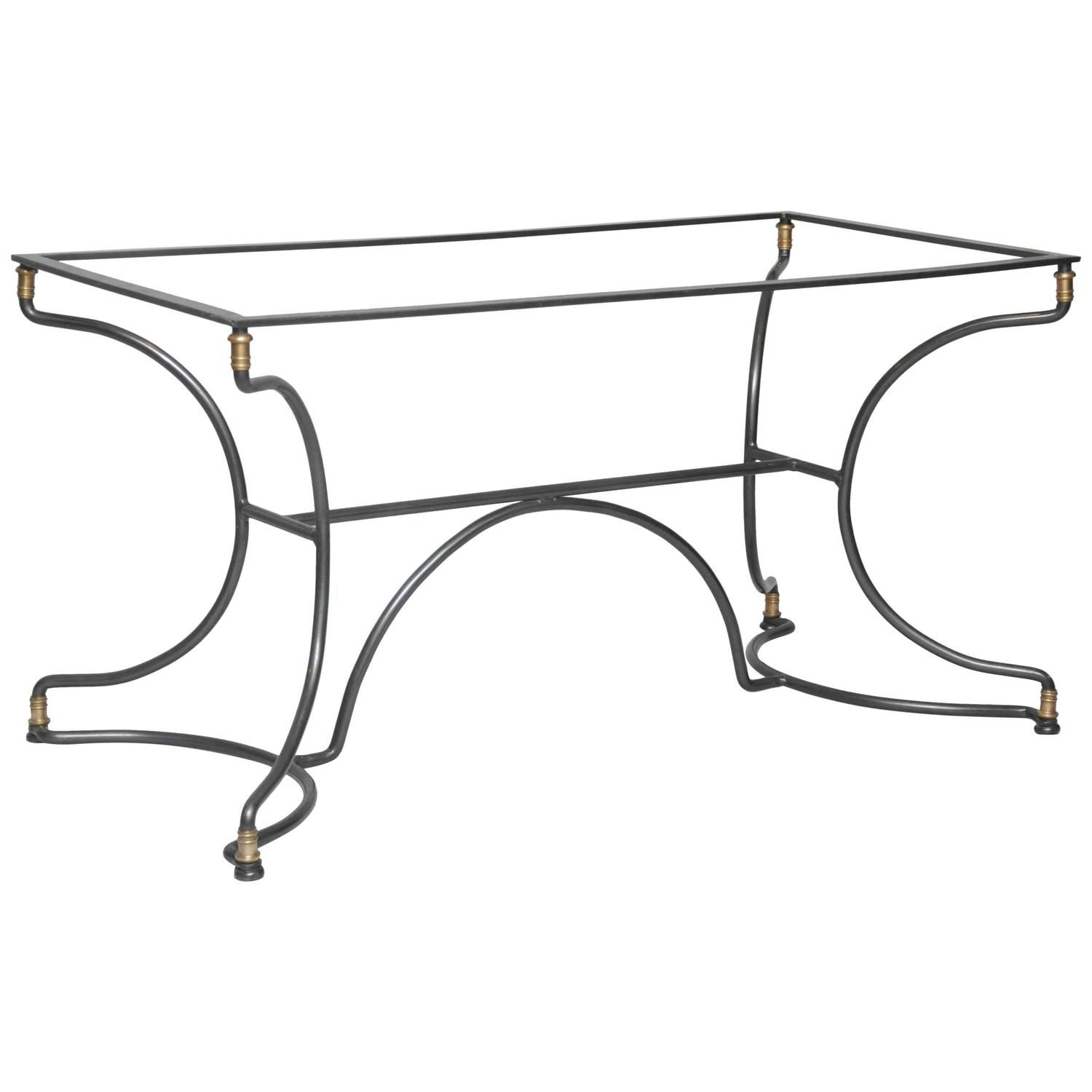 French Art Deco Iron Cafe Table, Rectangular Form, Can Use Custom Sized  Glass Or Marble Top. Clean Geometric Shaped Base With Brass Ornaments At  Crown And ...