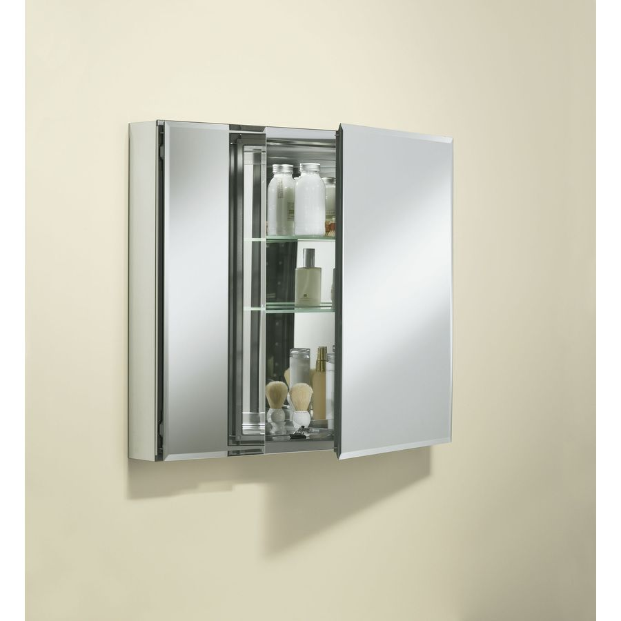Allen Roth 20 In X 26 In Rectangle Surface Recessed Mirrored Aluminum Medicine Medicine Cabinet Mirror Glass Wall Shelves