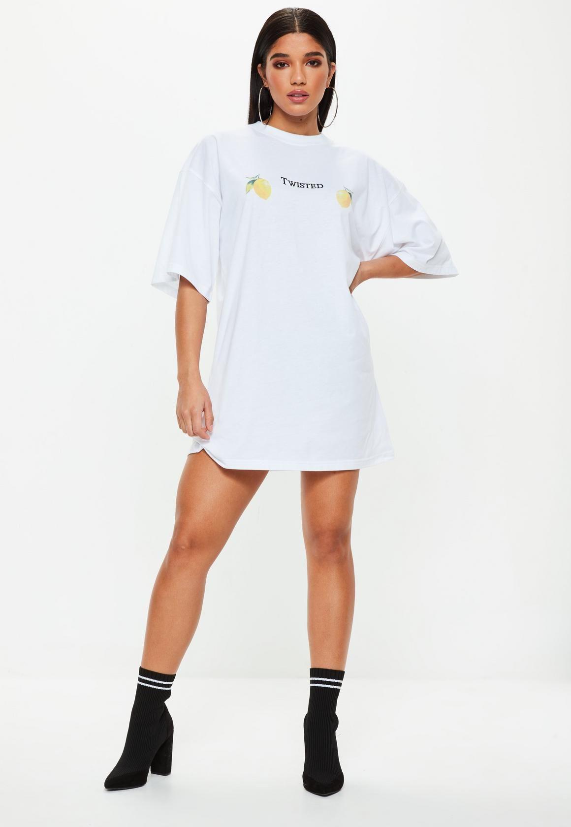 ccf658e1d39 Missguided - White Oversized Slogan Lemon T Shirt Dress