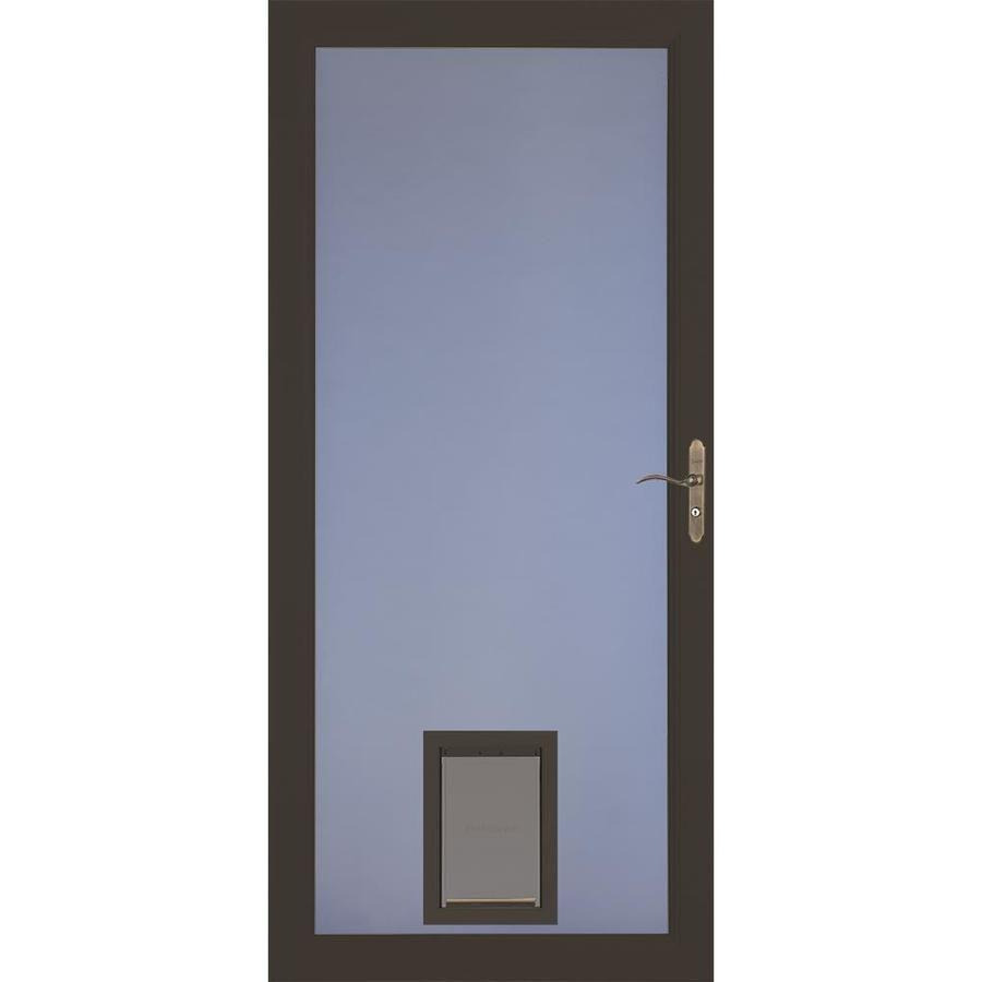 Larson Signature Pet Door Brown Full View Aluminum Storm Door Common 32 In X 81 In Actual 31 75 In X 79 75 In 14979 In 2020 Aluminum Storm Doors Glass Door