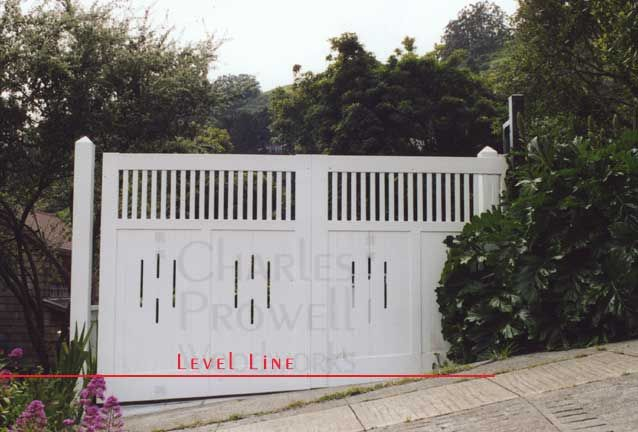 Building Gates And Fences To A Sloping Grade Driveway Gate Wood Gates Driveway Wooden Gates Driveway