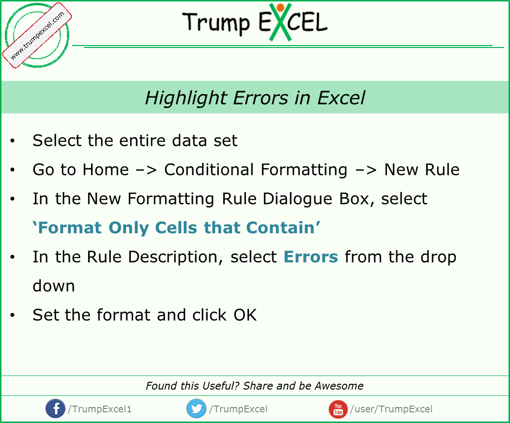 How To Quickly Highlight Errors In Excel For More Excel