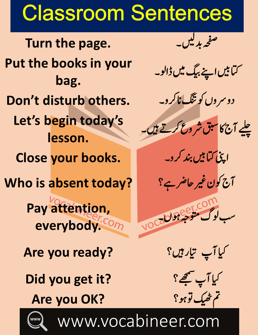 Daily Use Sentences In Classroom With Urdu Hindi Translation In 2020 Learn English Words English Vocabulary Words English Words