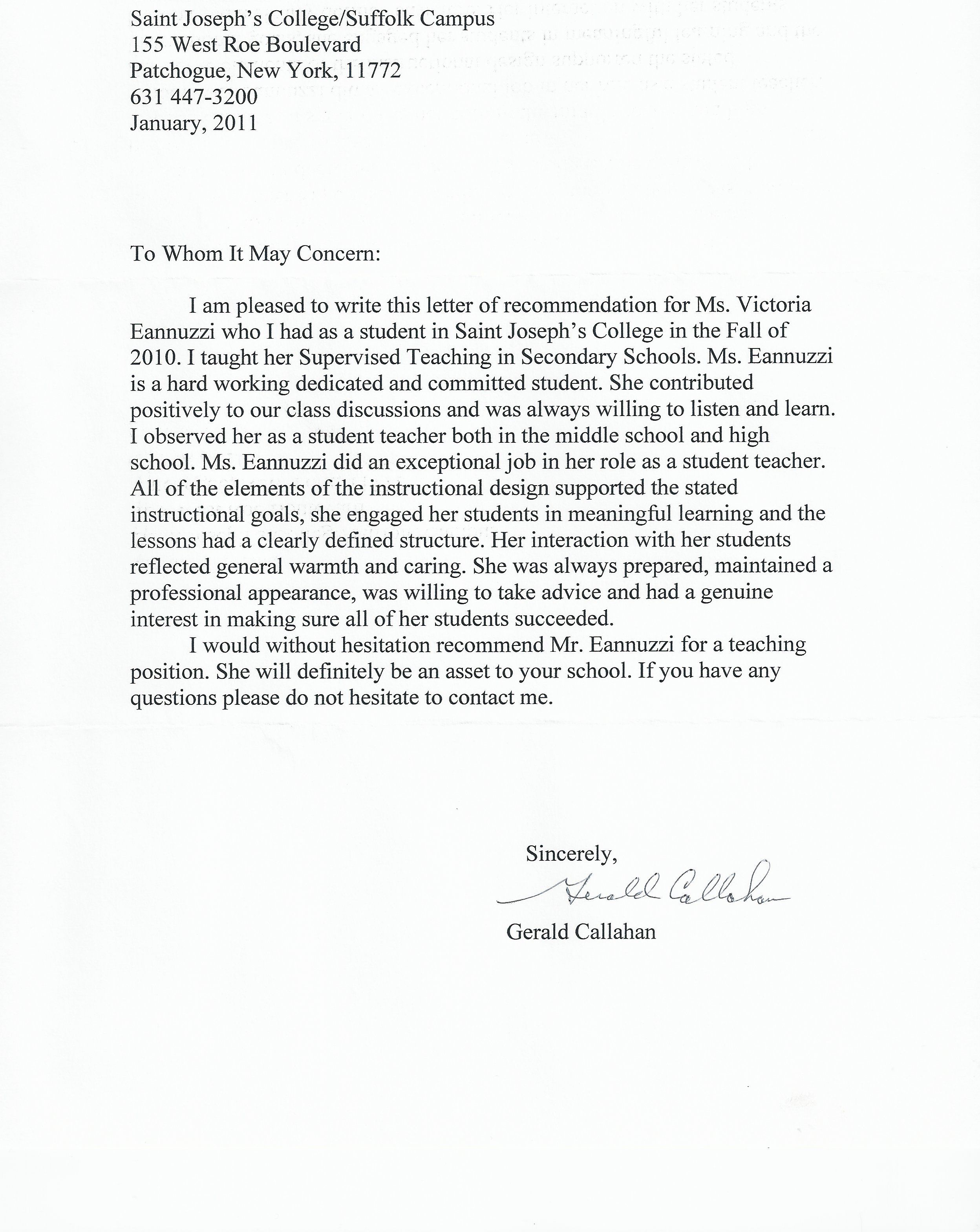 brown letter of recommendation