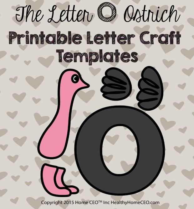 the letter o ostrich printable letter craft template by home ceo in color and black and whote
