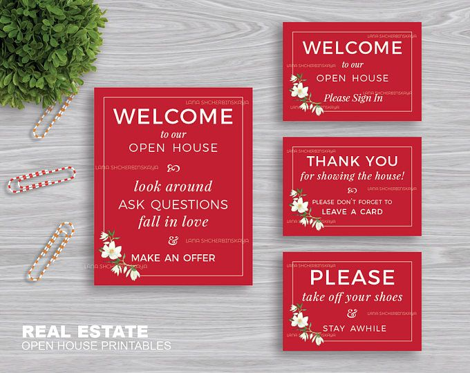 image about Welcome to Our Open House Printable called Genuine Estate \