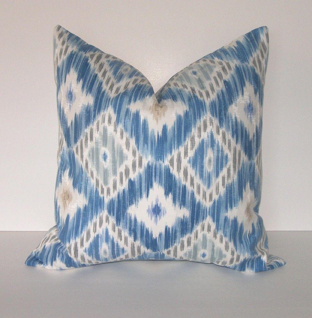 BOTH SIDES -  Decorative Designer Ikat Pillow Cover - 18x18 inches - P Kaufmann - Deep Blue - Light Blue - Taupe - Ivory. $32.00, via Etsy.