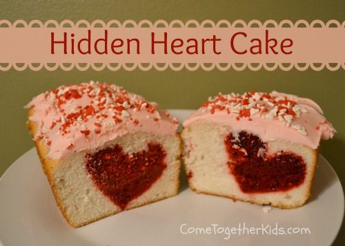 Hidden Heart Cake ~ all you need are regular loaf pans, a cookie cutter and boxed cake mixes!