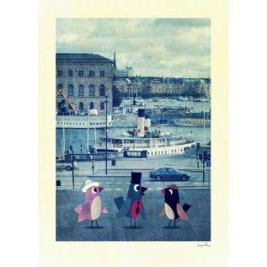 Poster Birds in Stockholm 50 x 70 (Ingela P Arrhenius) i gruppen BABY & BARNAVDELNINGEN / Affischer/Tryck hos HouseofHedda.com (OmTryckBirdsSthlm50)