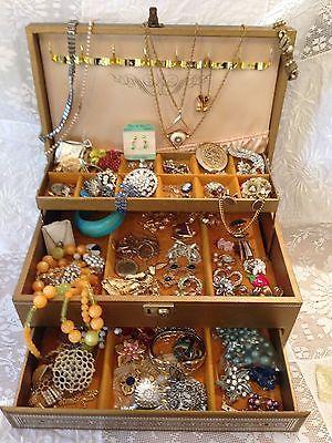 Vintage mele jewelry box lot rhinestone monet trifari coro roget