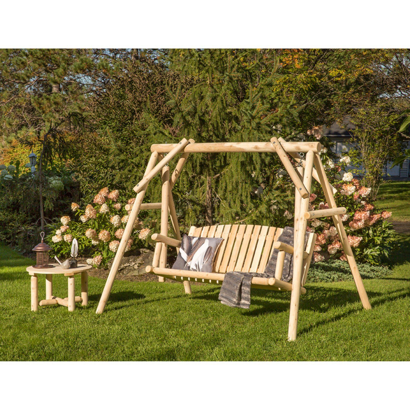 Bestar White Cedar Porch Swing With Side Table In 2019 Products