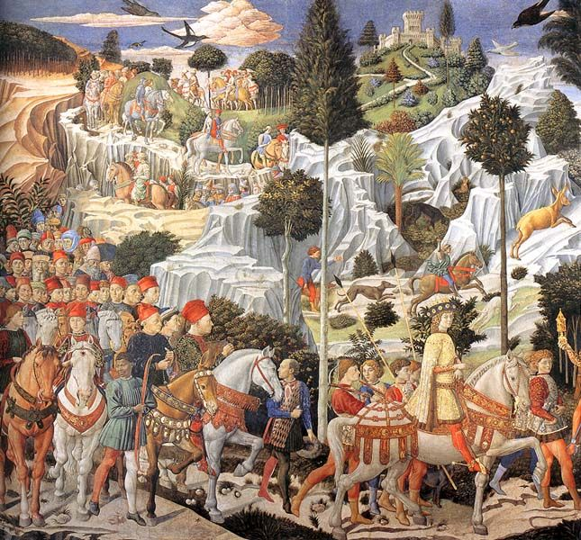 ((Benozzo Gozzoli, Procession of the Magi, Medici Palace chapel, by ca. 1459, fresco; East wall))