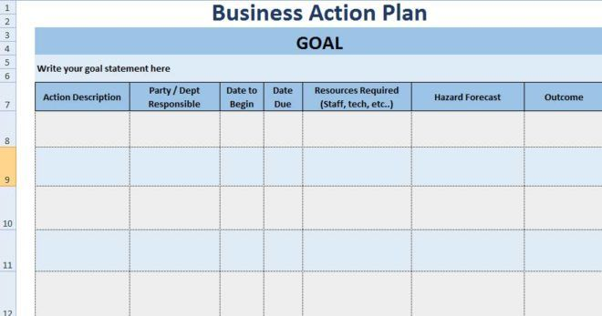 3+ Free Project Action Plan Template XLS - Free Excel ...