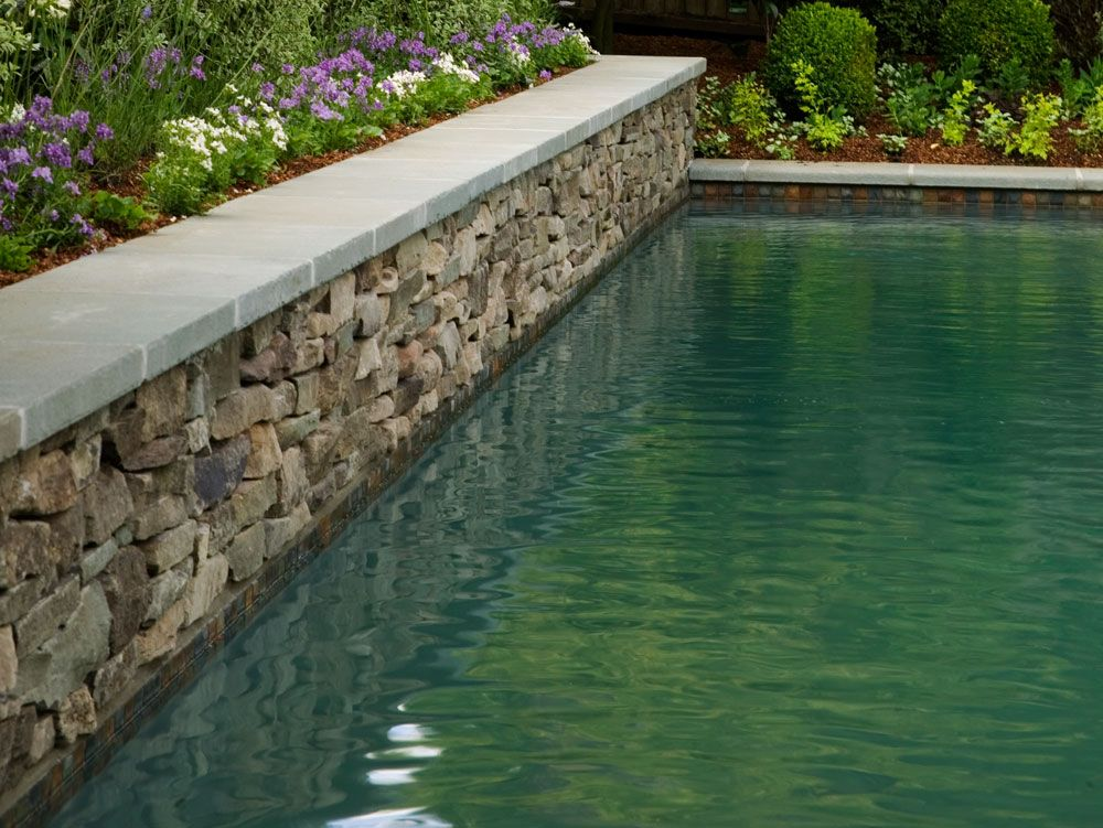 pool walls | Fieldstone Swimming Pool Wall - Love the color ...