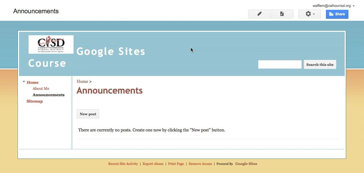 Waffle Bytes: Google Sites - Adding an Announcements Page ...