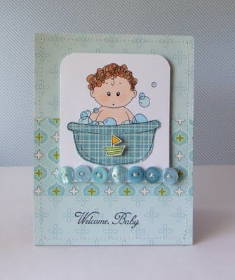"""A card I created using a digital stamp from Mami Doodles called """"Jamie""""."""