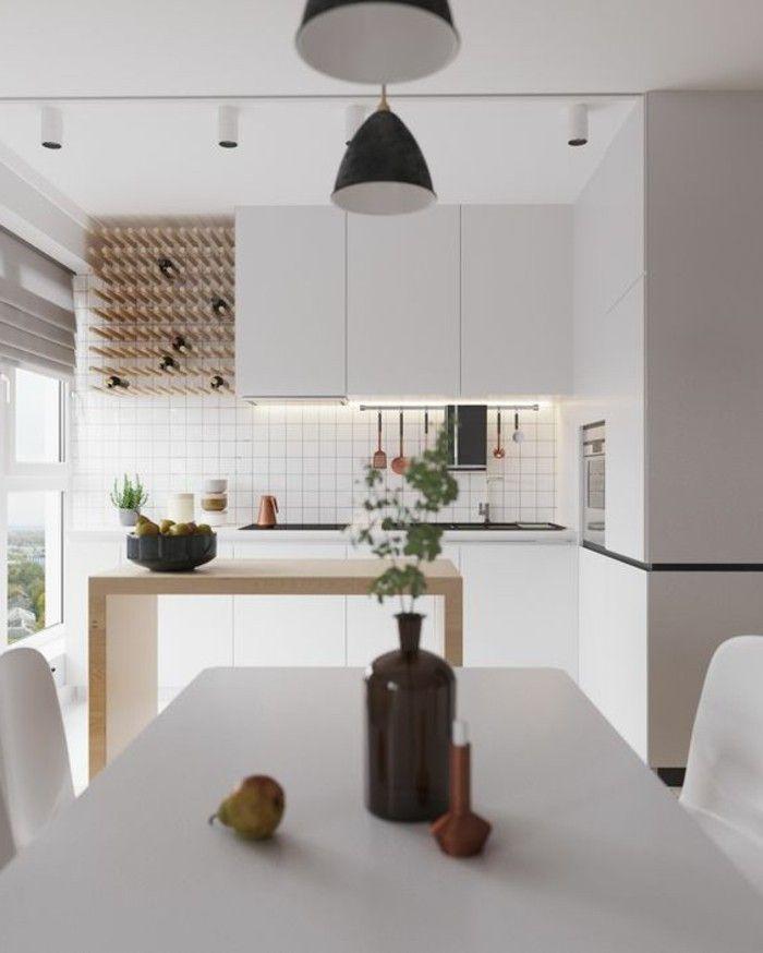 cocina blanca bar de madera mesa de diseño decoracion nordica ...
