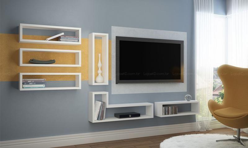 Conjunto para Sala de Estar com Nichos Branco - BRV Móveis | Lojas ...