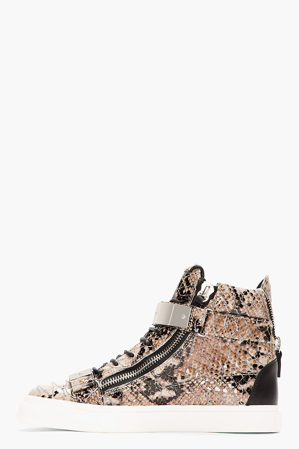 GIUSEPPE ZANOTTI Grey Leather Python Atlantide High-Top Sneakers