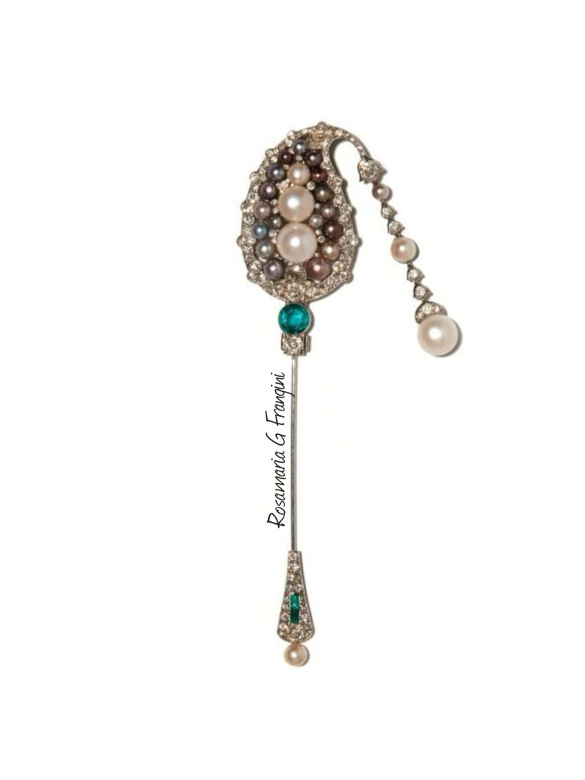 Rosamaria G Frangini | High Pearl Jewellery | CARTIER Natural pearl, emerald and diamond jabot pin, Cartier, 1920s Of Indian…