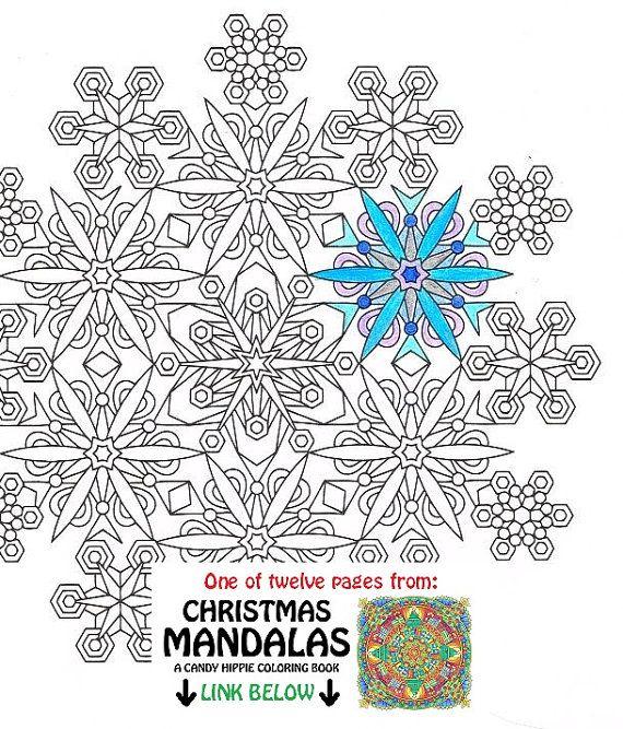 Christmas Mandala Coloring Page Snowflakes printable Christmas