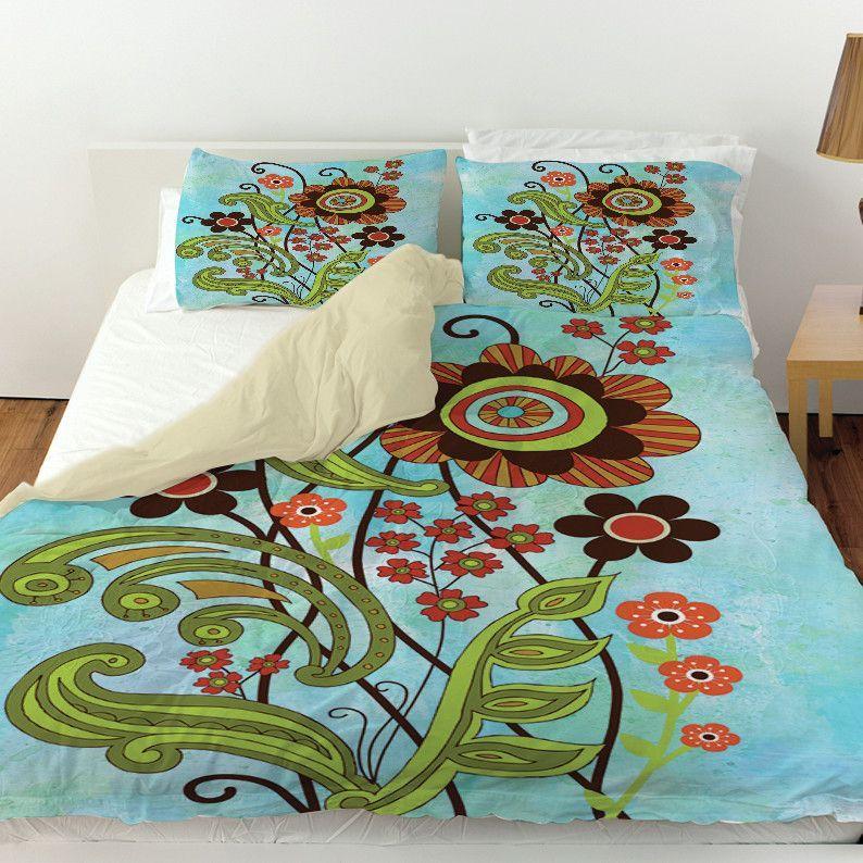 Flower Power Stems Duvet Cover