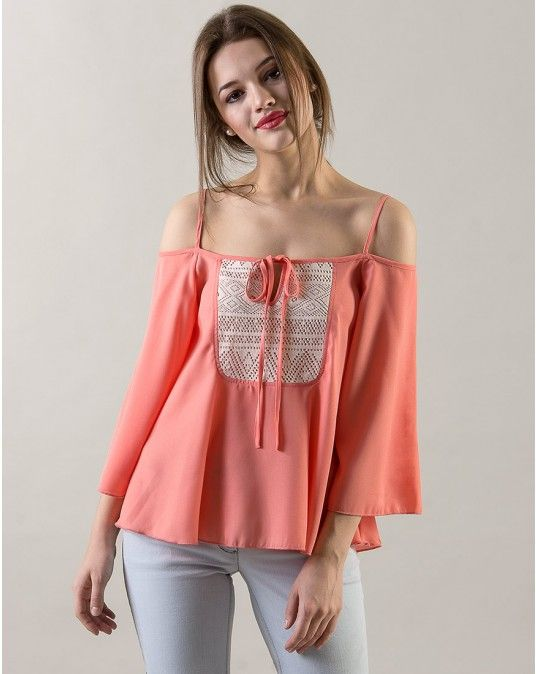 f3136e55fa4be9 StalkBuyLove Poly Georgette Coral Lace Off Shoulder Top  StalkBuyLove
