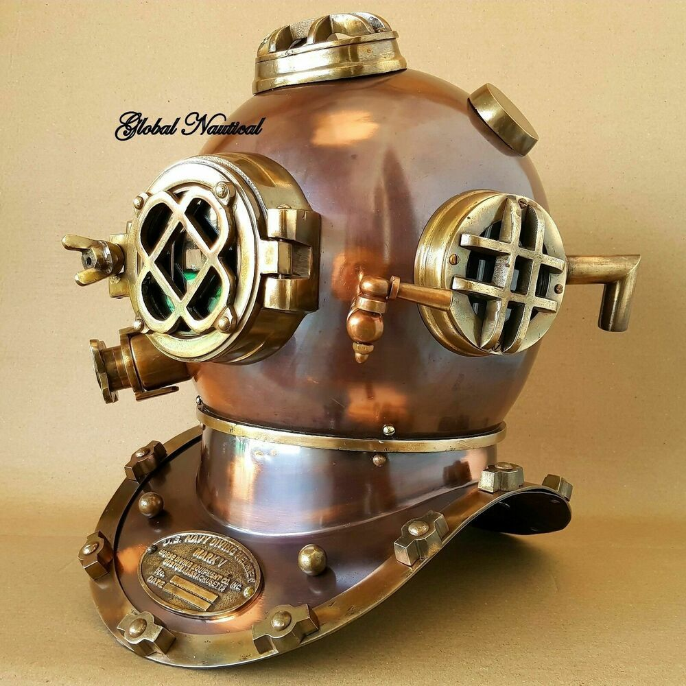 "US Navy Mark V Diving Divers Helmet Solid Steel Full 18/"" Size Marine Sea Scuba"