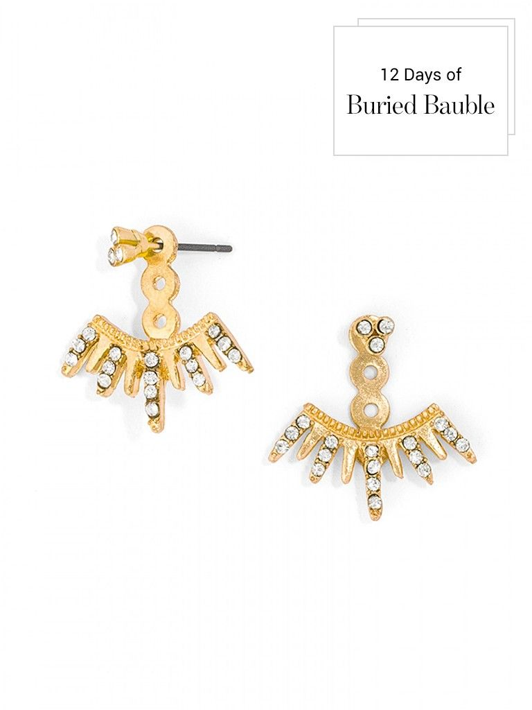 These spiked gold ear jackets evoke rays of sunlight, layered with extra sparkle thanks to tiny crystals.