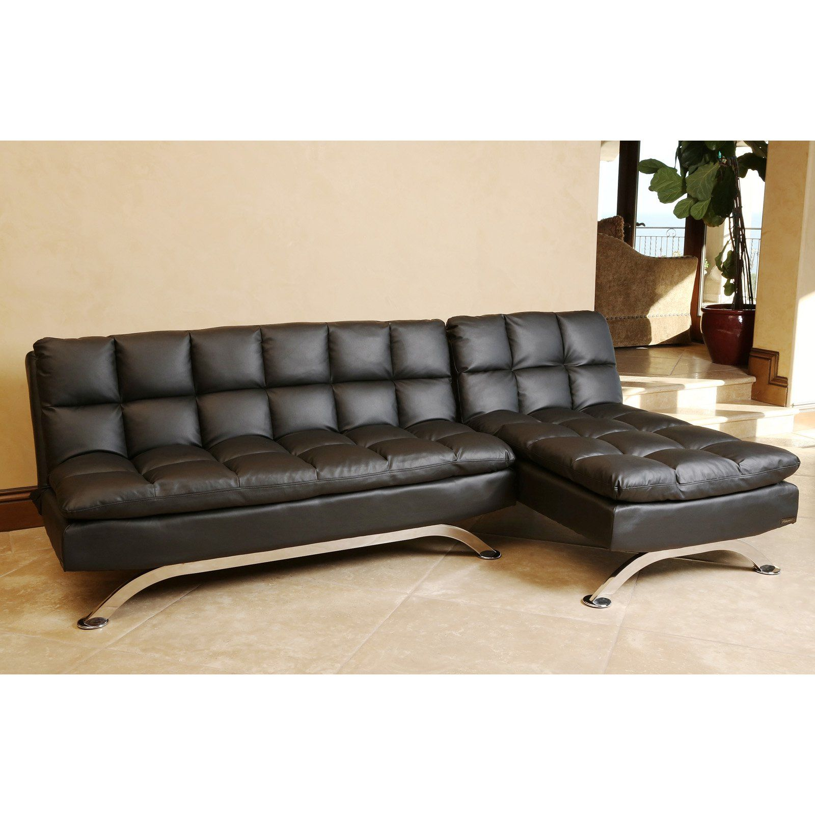 Abbyson Living Vienna Black Leather Sofa Bed And Chaise Sectional From Hayneedle Com Sofa Bed With Chaise Leather Sofa Bed Black Leather Sofa Bed