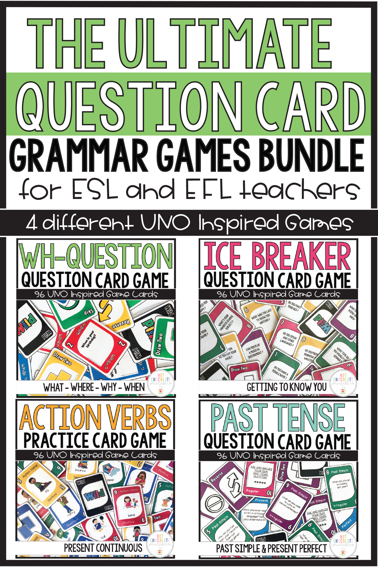 Grammar Card Games Bundle Wh Questions Ice Breakers