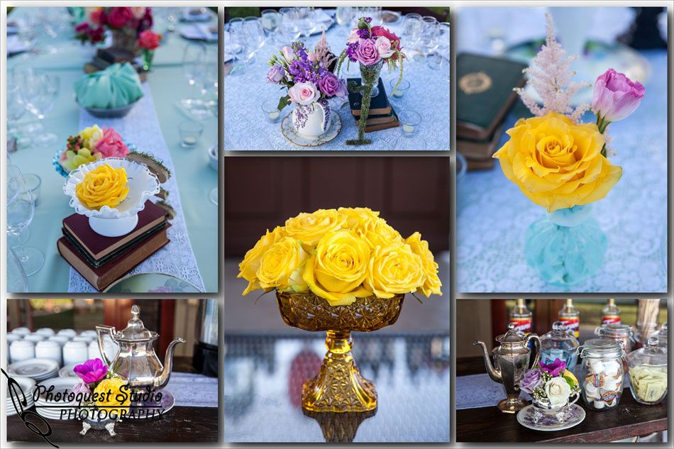 More of our dainty blooms at the Wiens Family Cellars Tasting Dinner - I am in LOVE with all the vintage pieces and vessels from Madam Palooza Vintage Rentals!! Photos by Kevin at Photoquest Studio. www.RSVPFLORAL.com