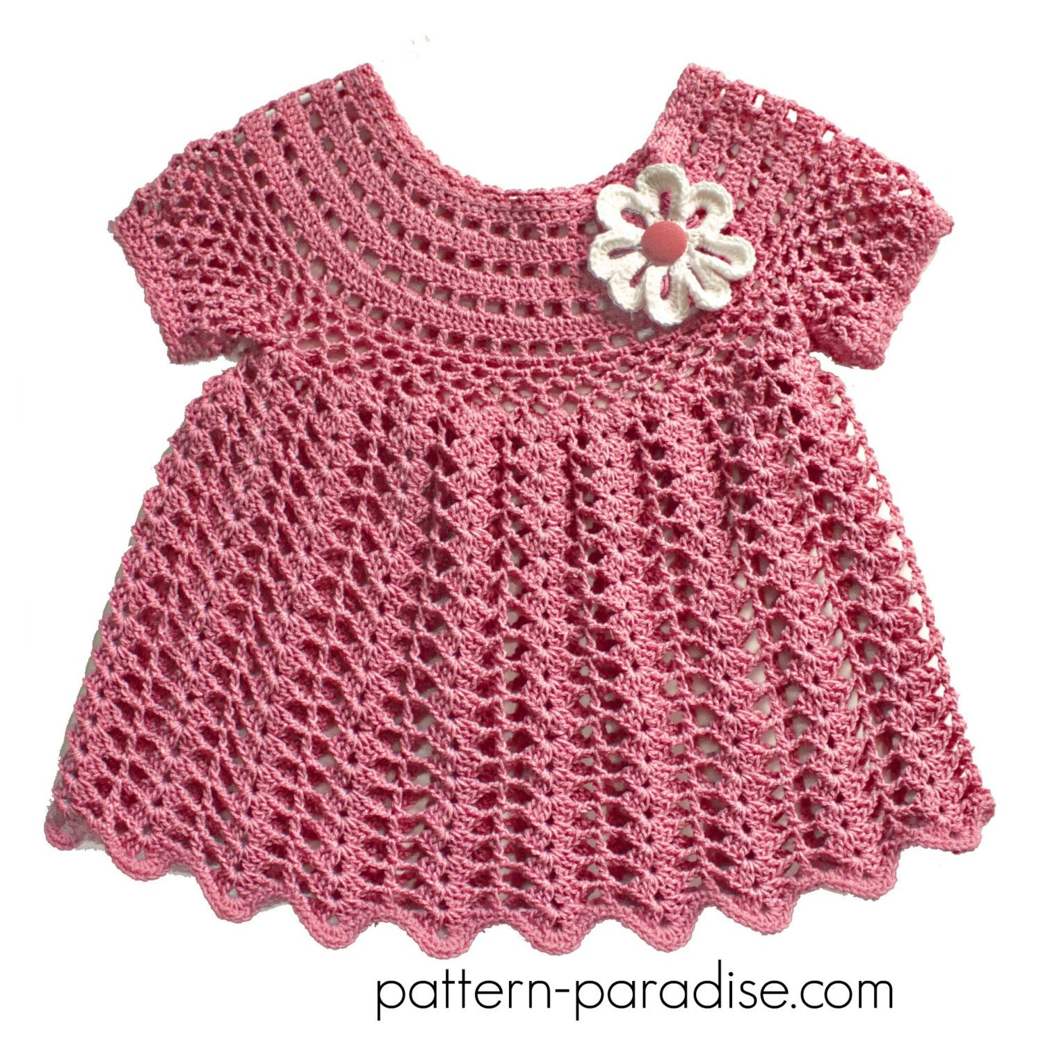 Crochet Pattern for Baby Toddler Dress Tunic, Peaches and Cream, PDF ...