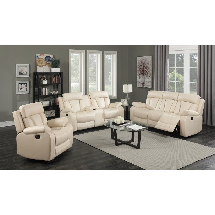 Meridian Avery Beige Leather 3-piece Living Room Set (Living Room ...
