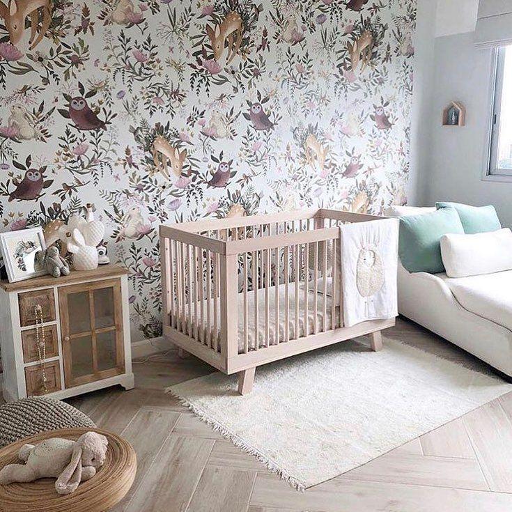 Nursery, wallpaper, floral wallpaper, white cot, baby