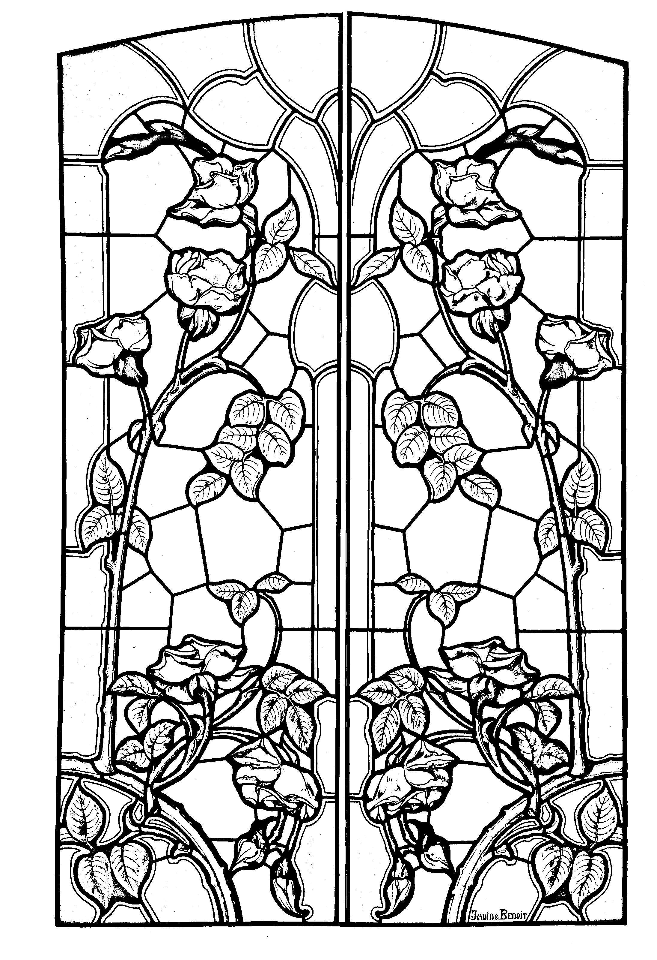 Free Coloring Page Stained Glass Drawing Art Nouveau Style