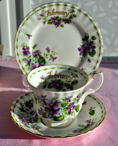 Royal Albert Flower Of The Month Series February Teacup Trio c.1970's