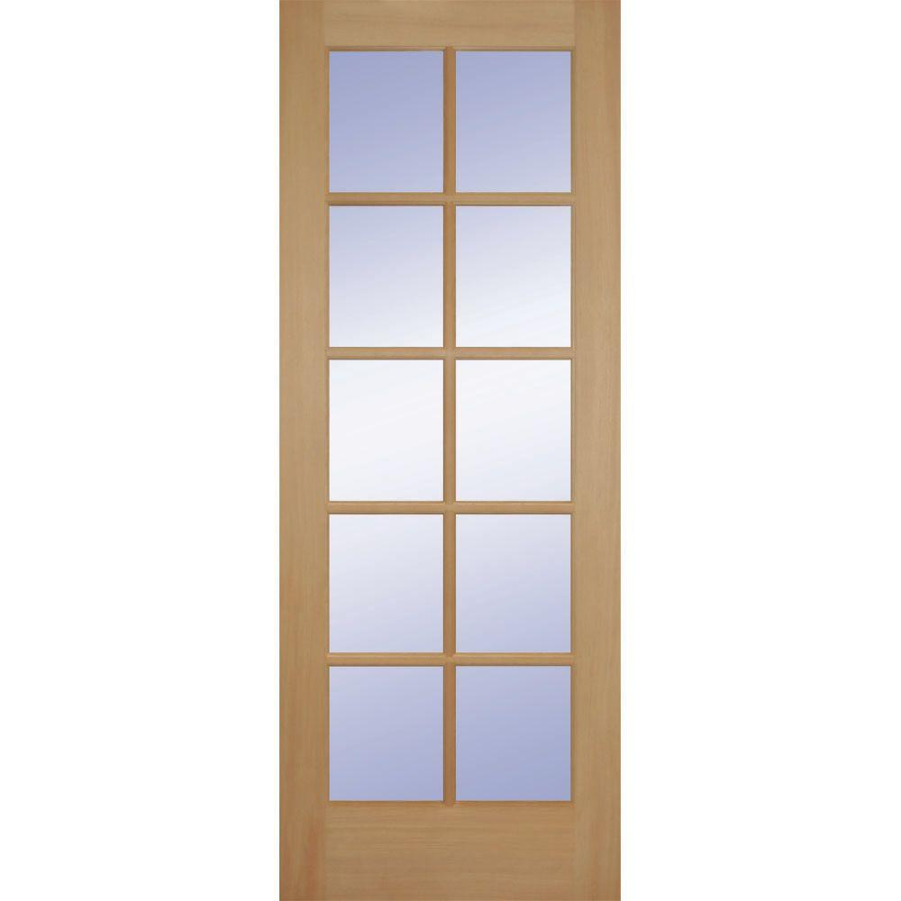 Builders Choice 24 In X 80 In 24 In Clear Pine Wood 10 Lite French Interior Door Slab Hdcp151020 Doors Interior French Doors Interior Glass Doors Interior