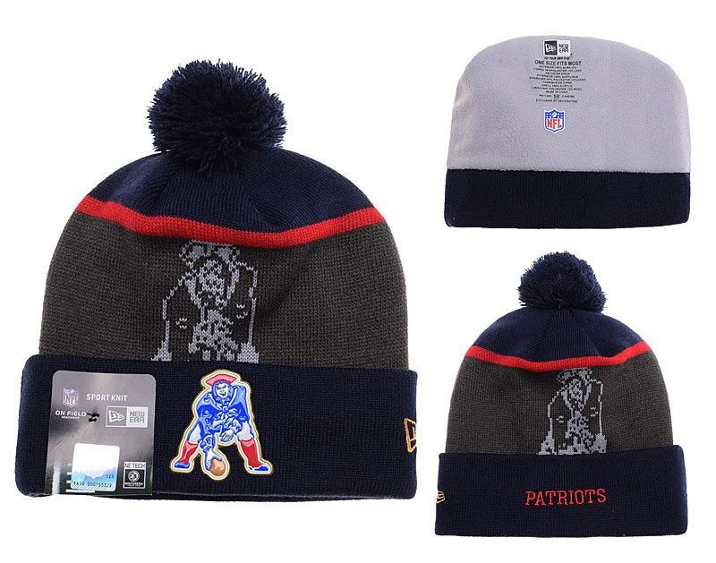 Mens   Womens New England Patriotss New Era NFL Gold Collection Throwback  Liquidchrome Logo Cuff Knit Beanie Hat With Pom - Orange   Graphite 1e0f5aed7a