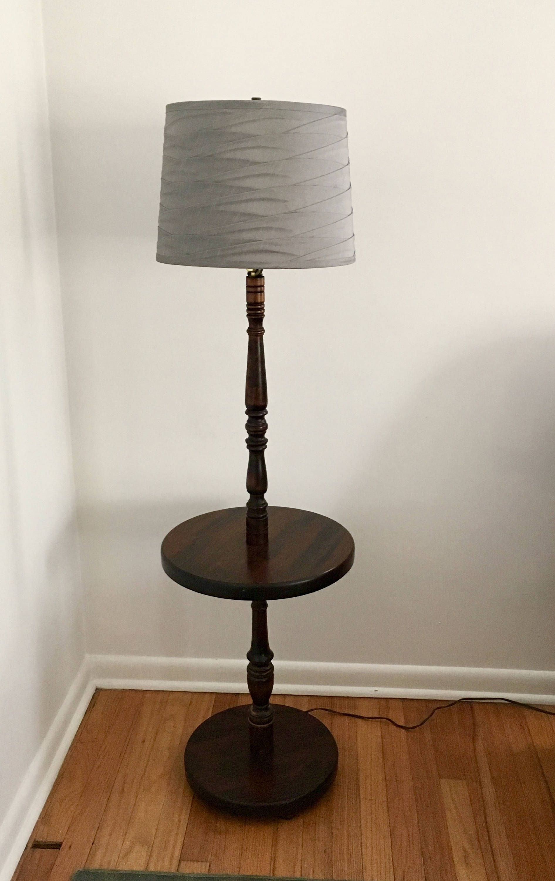 Vintage Solid Mahogany Wood Floor Lamp with Table Farmhouse Shabby