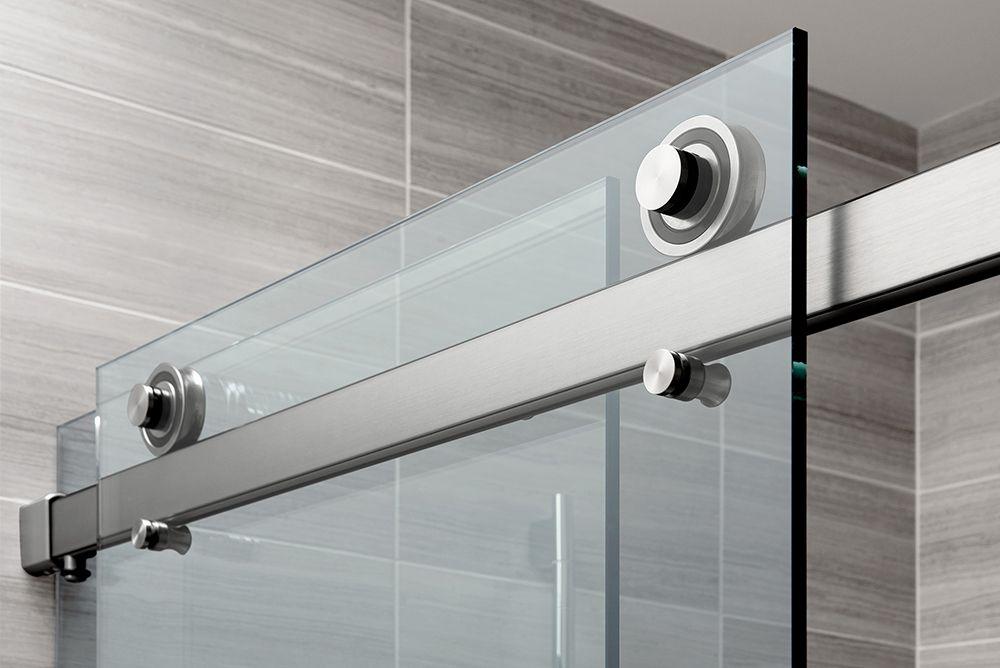 The rorik frameless glass sliding door shower system for Sliding glass door wall system