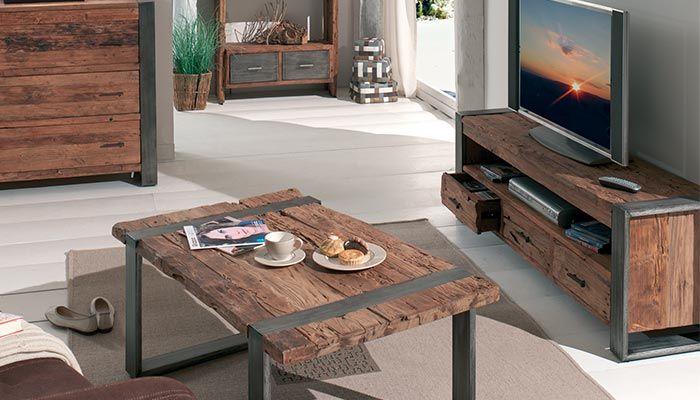 meuble tv en teck recycle collection