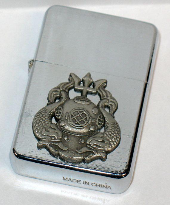 Custom US Navy Diver Emblem Brushed Chrome by OldRoadSupply