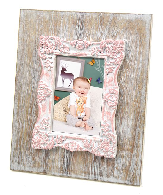 Natural Wood & Pink Scroll Rectangular Frame