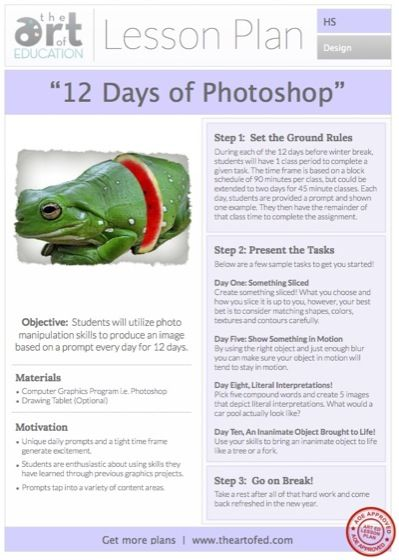 12 Days of Photoshop Free Lesson Plan Download (The Art of - high school lesson plan template