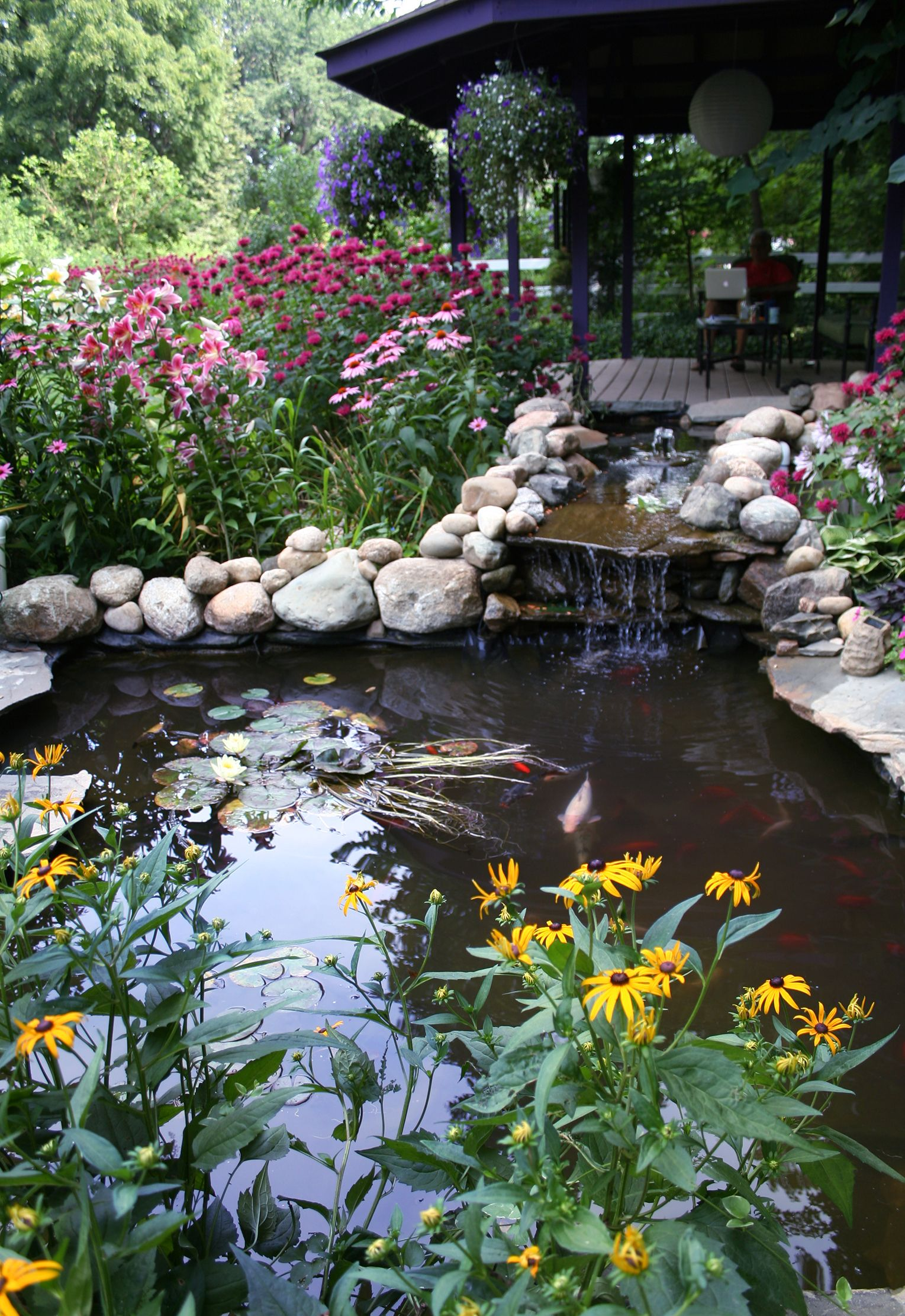 Koi pond by the new gazebo my garden michigan gardens for Pond shade ideas